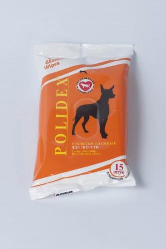 Полидекс Влажные салфетки для шерсти собак, 15 шт