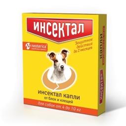 Инсектал Капли для собак 4-10 кг,1 пип N102 (уп/10 шт) (кор/60 шт)