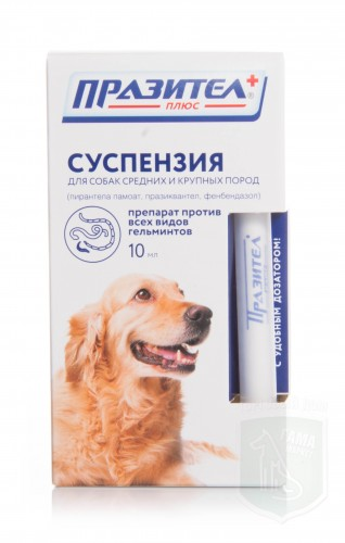 Празител плюс суспензия для собак сред. и крупн.  пород, 10 мл