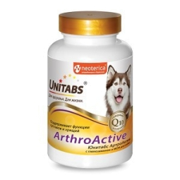 ЮНИТАБС Витамины д/собак, 100 таб ArthroActive с глюкозамином и МСМ (кор/12шт)