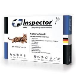 Инспектор капли д/кошек до 4кг. 1 пипетка