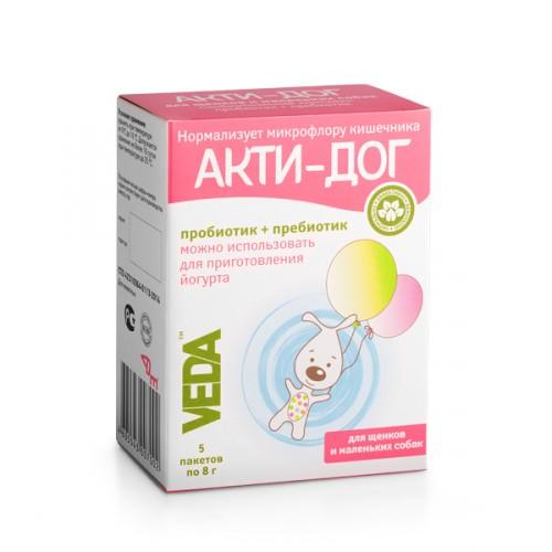 АКТИ-ДОГ функциональный корм для щенков и маленьких собак, 5 пакетов х 8г