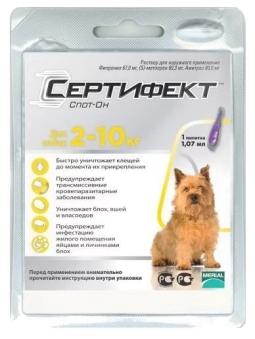 Сертифект Спот-Он S д/собак 2-10 кг, 1,07 мл