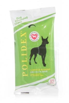 Полидекс влажные салфетки для глаз и ушей собак, 15 шт