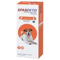 БРАВЕКТО Спот ОН д/собак 4,5 -10 кг,1 пип*250 мг (бокс/10 уп)