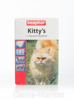 Беафар Витамины KITTYs TAURINE+BIOTIN для кошек 180 таблеток