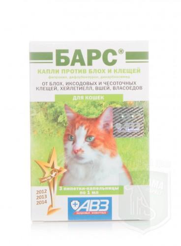 Барс капли против блох и клещей для кошек, 3 пипетки