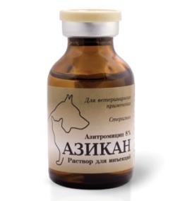Азикан (азитромицин 8 %) инъекц, 20 мл