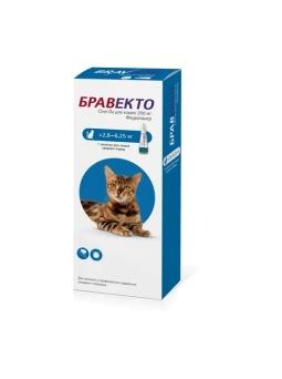 БРАВЕКТО Спот ОН д/кошек 2,8-6,25 кг, 1 пип*250  (бокс/10 уп)